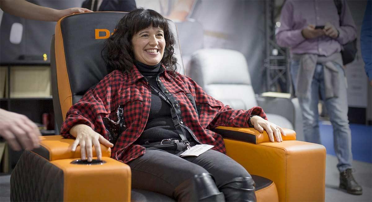 Woman smiling D Box chair